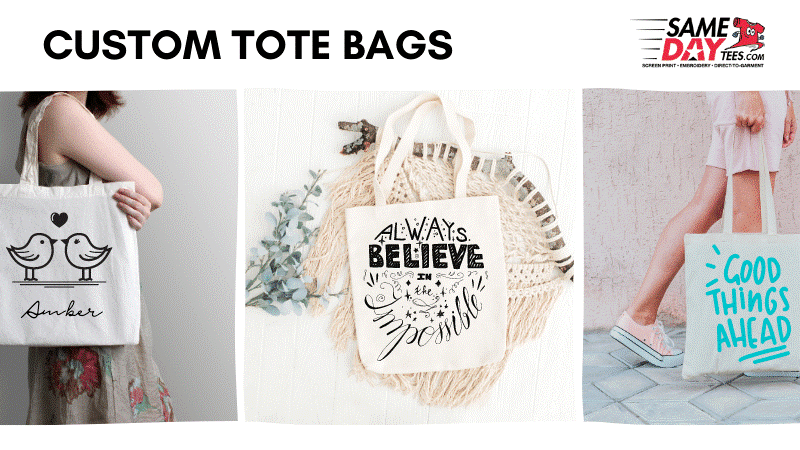 Row of totes with different designs on them. Custom Tote Bags written above the images