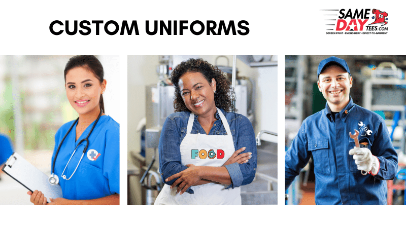 """People wearing a nurse outfit, an apron and a mechanic's shirt. """"Custom Uniforms"""" written above the image"""